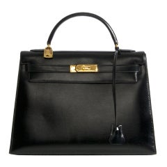 HERMES 32 CM Kelly sellier box black