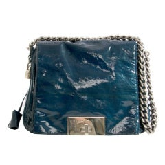 Celine Petroleum Patent Lacquer Messenger Flap Bag and Wallet