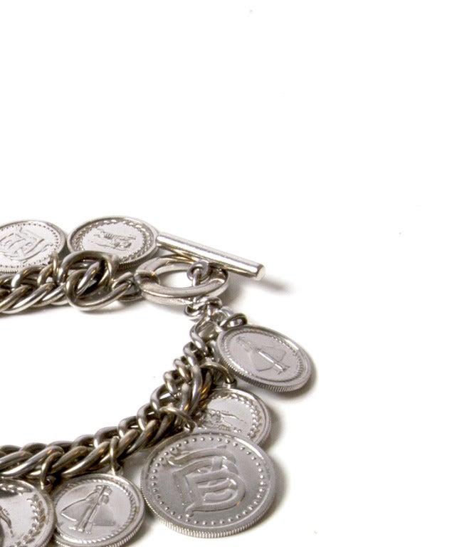 Women S Burberry Lady Sterling Silver Coin Charm Bracelet Watch Bu5220