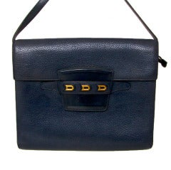 Delvaux Bandouliere Cross Body Bag Navy Blue