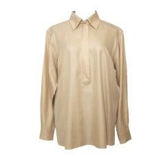 Hermes Silk Button-up Chemise Desert Sand