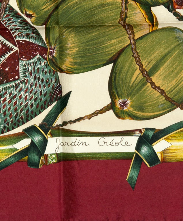 New hermes carre 90 foulard silk scarf 39 jardin creole 39 at for Jardin francais jewelry