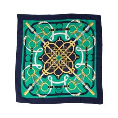 """Hermes """"Eperon d'or"""" silk green and gold equestrian print scarf"""
