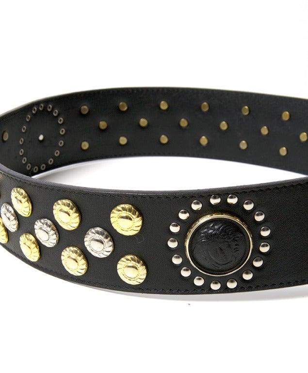 versace studded leather belt at 1stdibs
