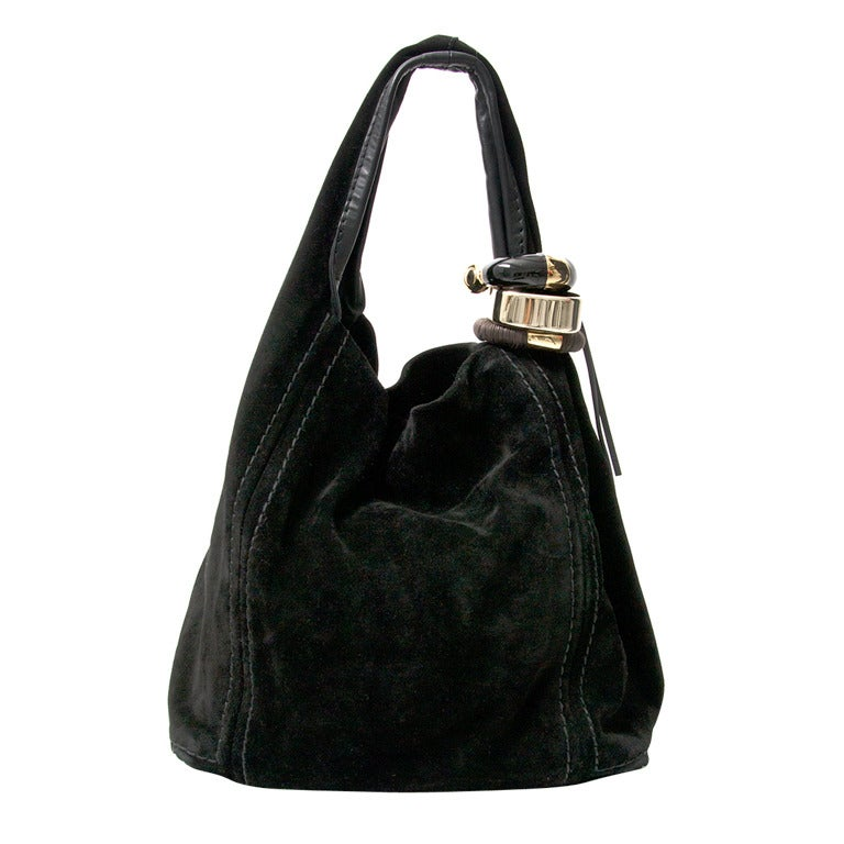Jimmy Choo Black Suede Hobo Bag at 1stdibs