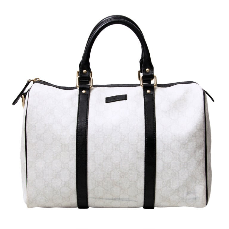 Gucci Off White Monogram Bowling Bag For