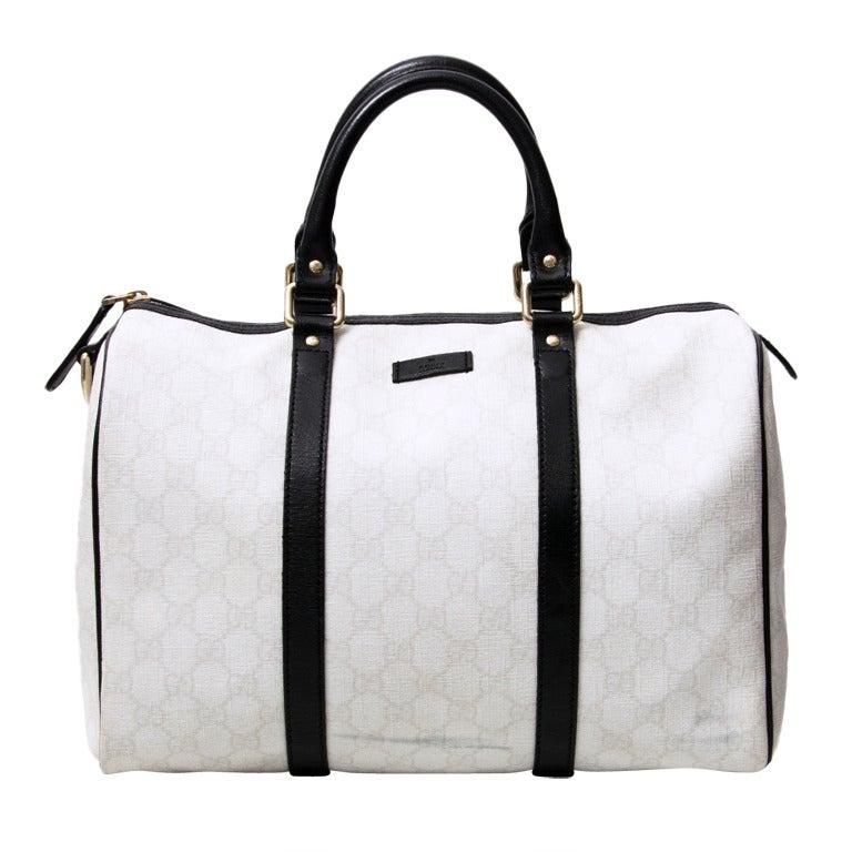 d763cdb5fa35 Gucci Off-white Monogram Bowling Bag at 1stdibs