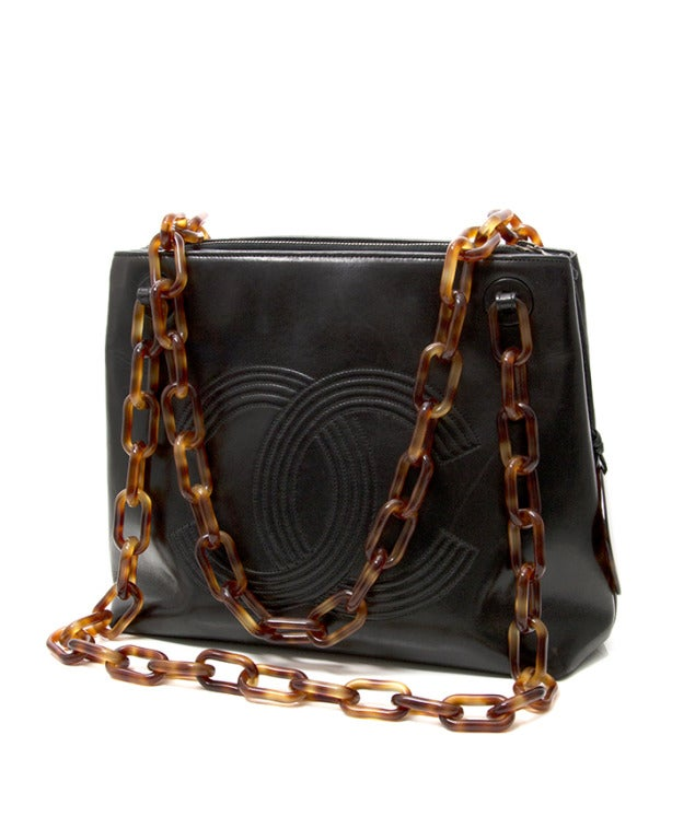 Chanel Black Horn Double C Shoulder Bag 2