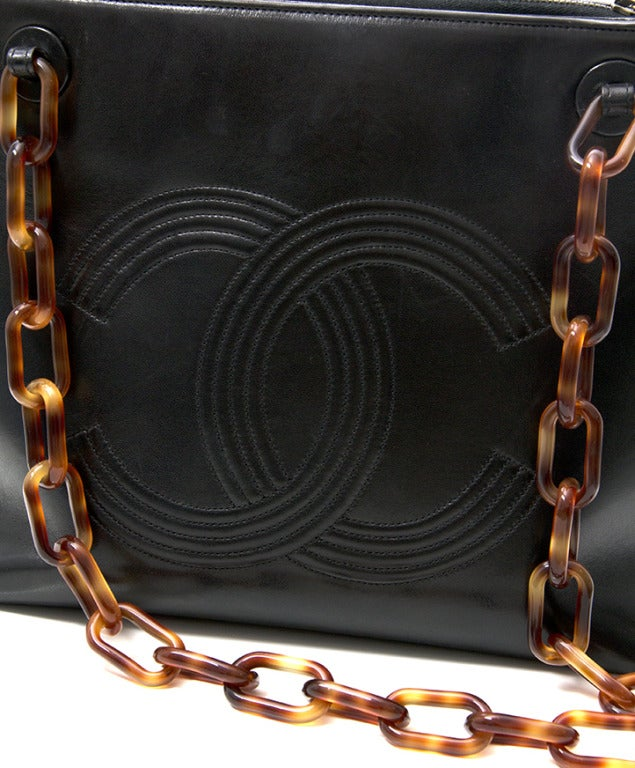 Chanel Black Horn Double C Shoulder Bag 7