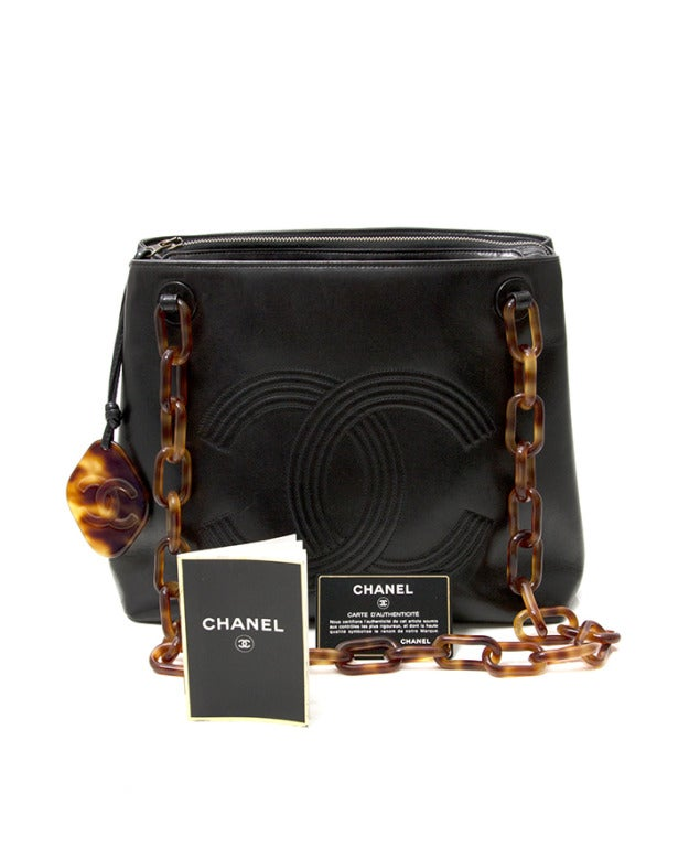 Chanel Black Horn Double C Shoulder Bag 9