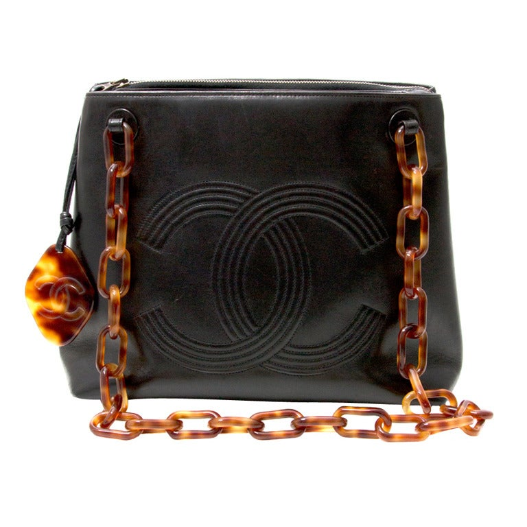 Chanel Black Horn Double C Shoulder Bag 1