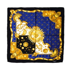 Loris Azzaro Carre silk scarf Gold sun and moon