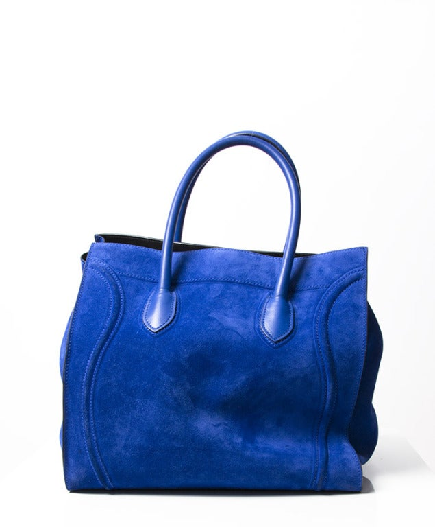 luggage phantom in suede bright blue - Celine Luggage Phantom Suede Tote Bag Cobalt Blue at 1stdibs