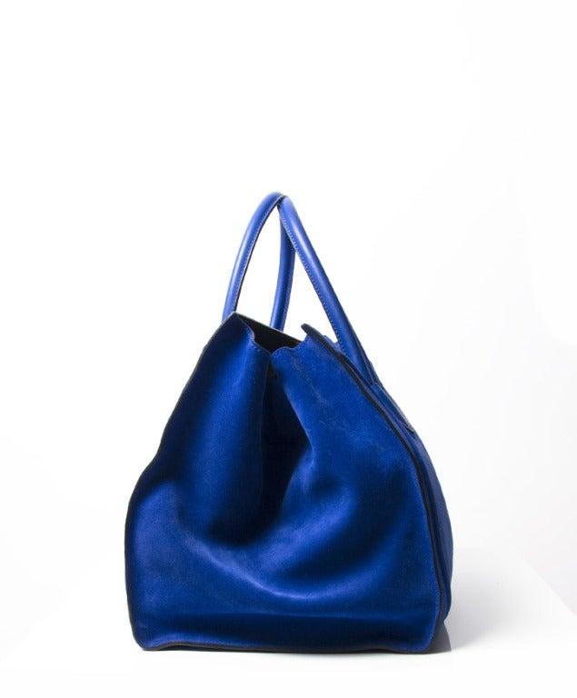 celine pink handbag - Celine Luggage Phantom Suede Tote Bag Cobalt Blue at 1stdibs