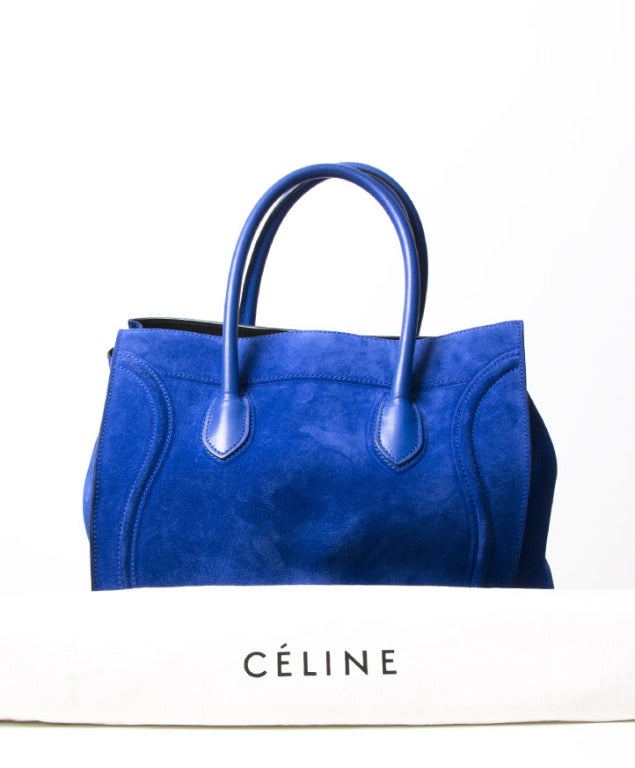 celine totes bags - Celine Luggage Phantom Suede Tote Bag Cobalt Blue at 1stdibs