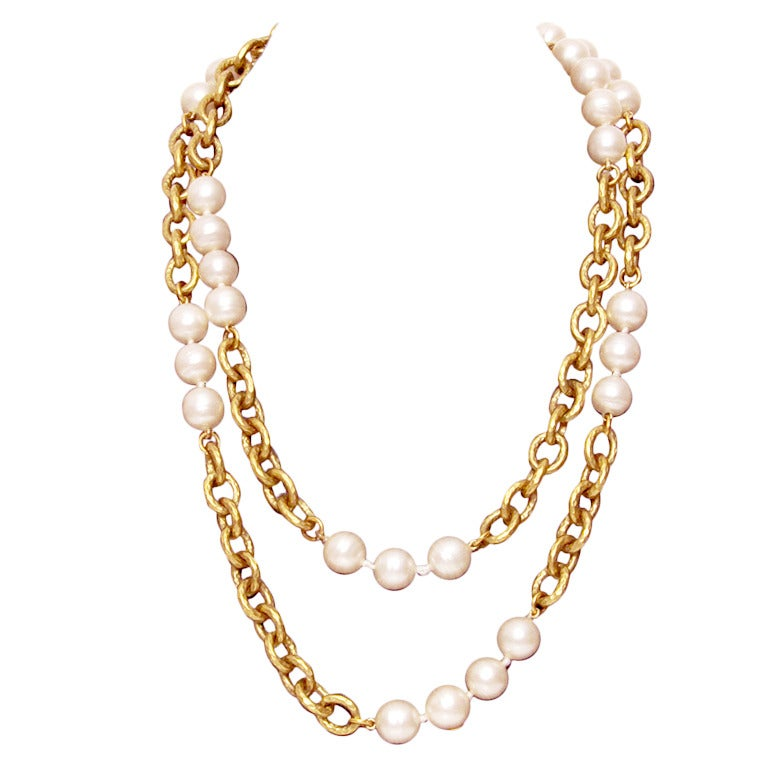 Chanel Pearl and Gold Chain Necklace