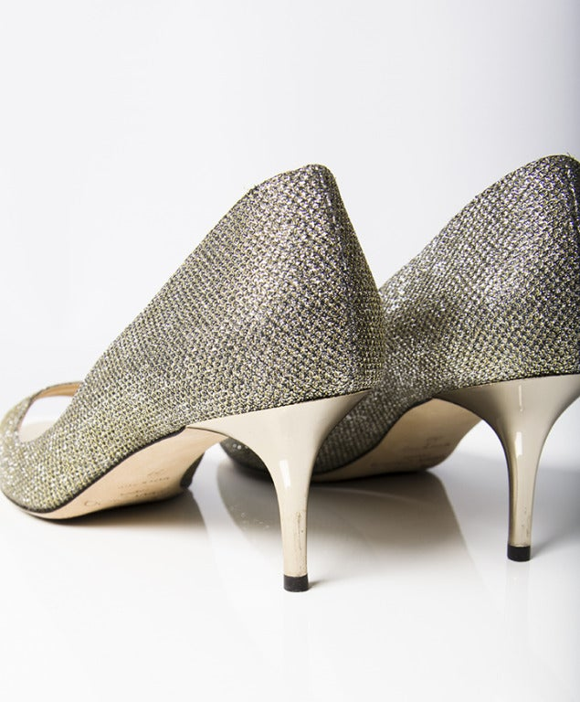 Jimmy Choo Sparkling Silver Peep Toe Pumps In Excellent Condition For Sale In Antwerp, BE