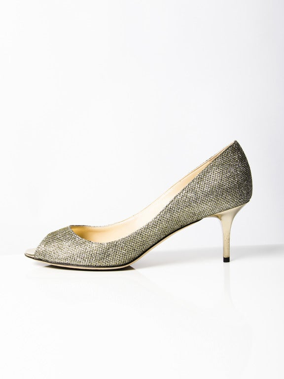 Jimmy Choo Sparkling Silver Peep Toe Pumps For Sale 1