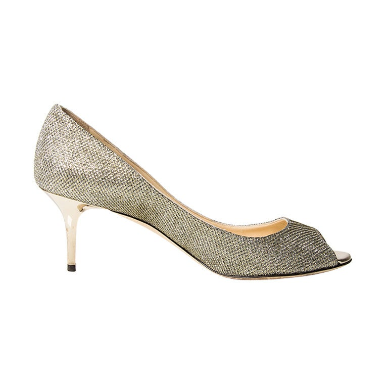 Jimmy Choo Sparkling Silver Peep Toe Pumps For Sale
