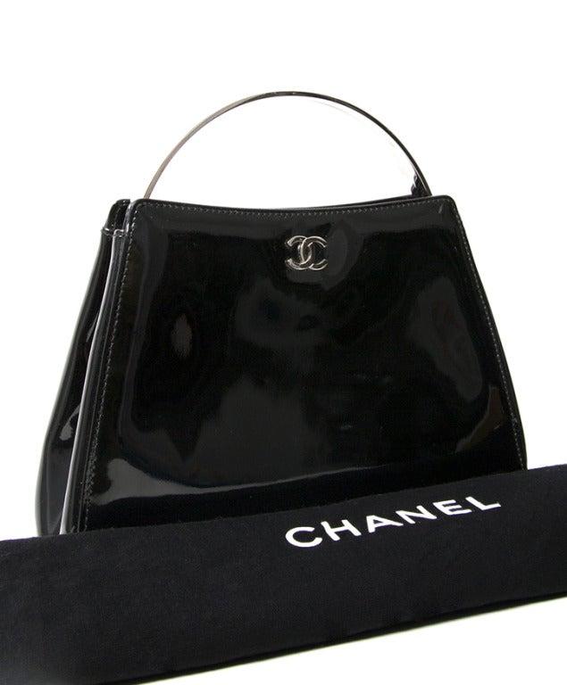 Chanel Patent Black Evening Purse 6