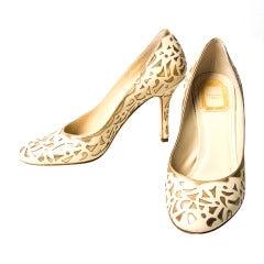 Dior Gold Cream Pumps