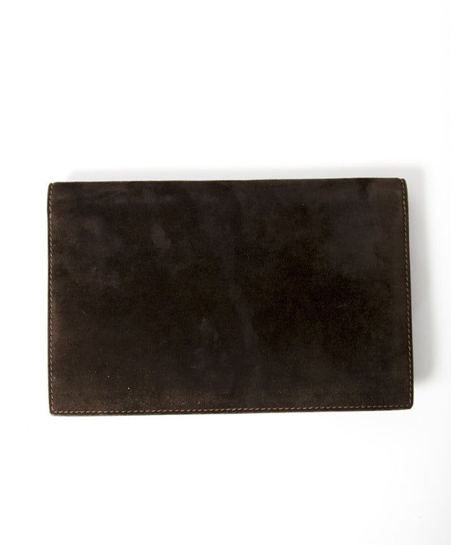 Black 'La Duchesse' Dark Brown Suede Clutch For Sale