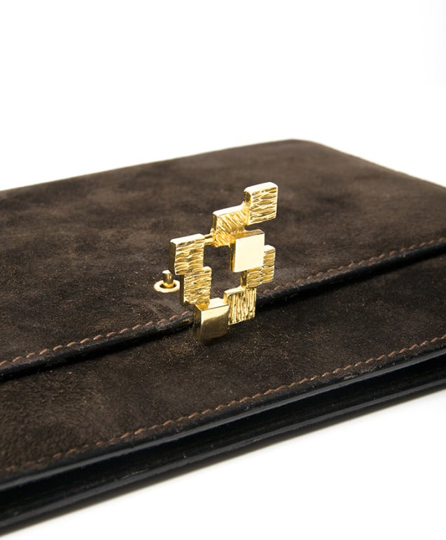 'La Duchesse' Dark Brown Suede Clutch In Excellent Condition For Sale In Antwerp, BE