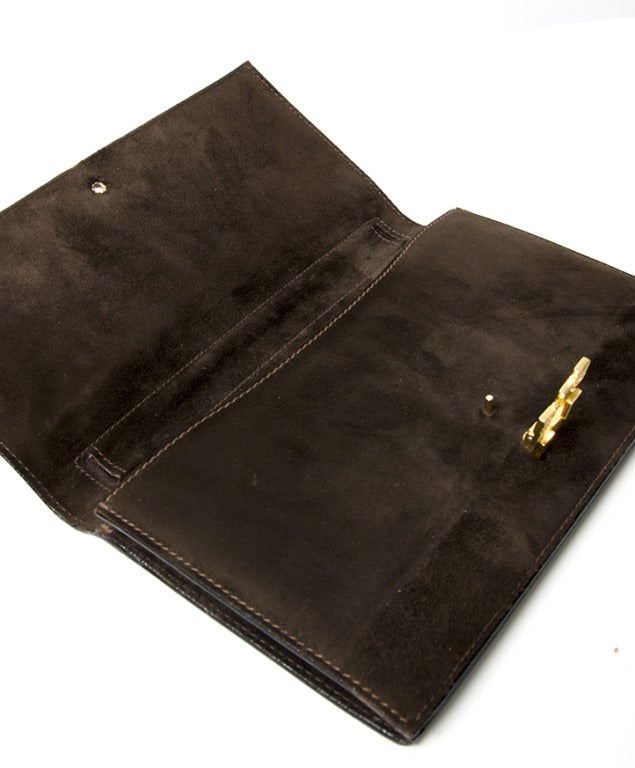 Women's 'La Duchesse' Dark Brown Suede Clutch For Sale