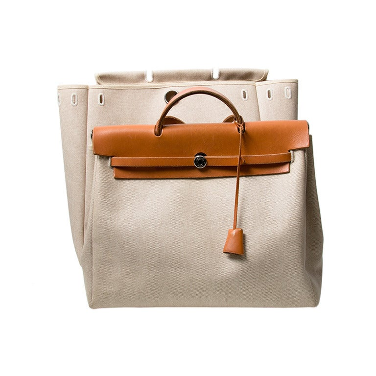 Hermes Herbag Cognac and Beige Toile H Canvas 2 in 1 Bags at 1stdibs