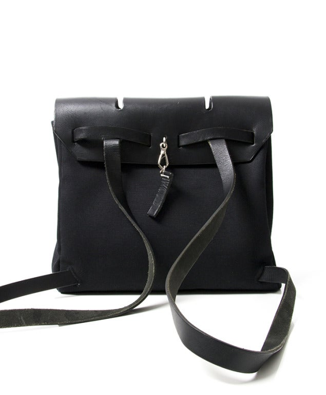 Hermes Herbag Black Toile Canvas 2 in 1 Backpack at 1stdibs