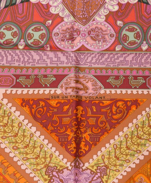 hermes silk scarf foulard carre 39 sur un tapis volant 39 at 1stdibs. Black Bedroom Furniture Sets. Home Design Ideas