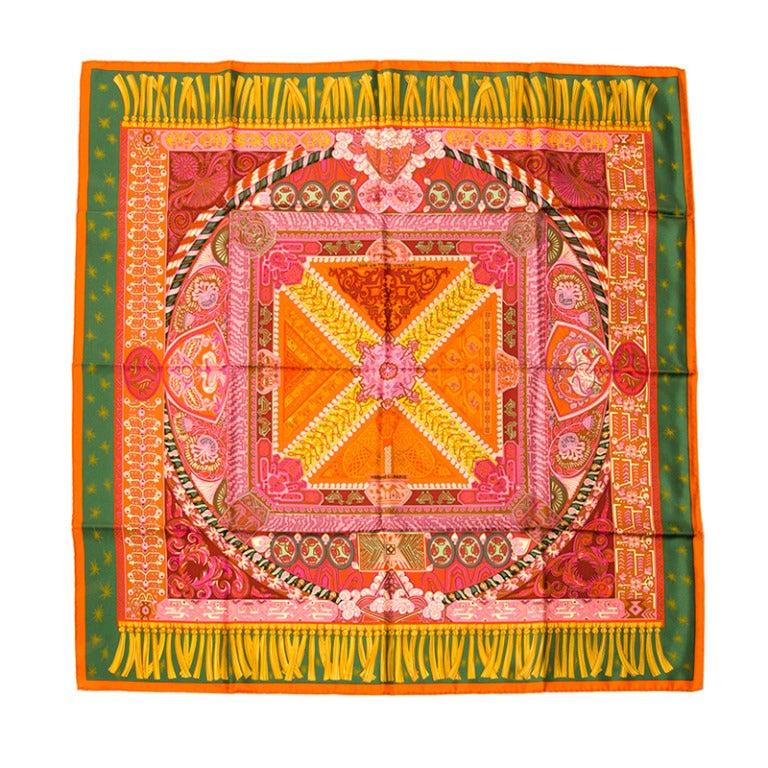 hermes silk scarf foulard carre 39 sur un tapis volant 39 at. Black Bedroom Furniture Sets. Home Design Ideas