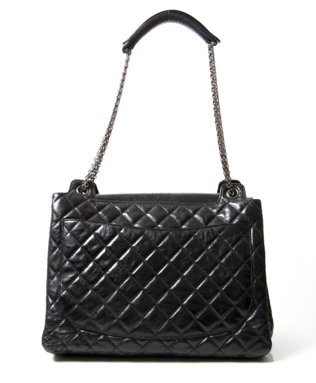 Chanel Black Quilted Patent Leather Shopper Bag 2