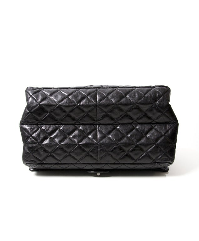Chanel Black Quilted Patent Leather Shopper Bag 4