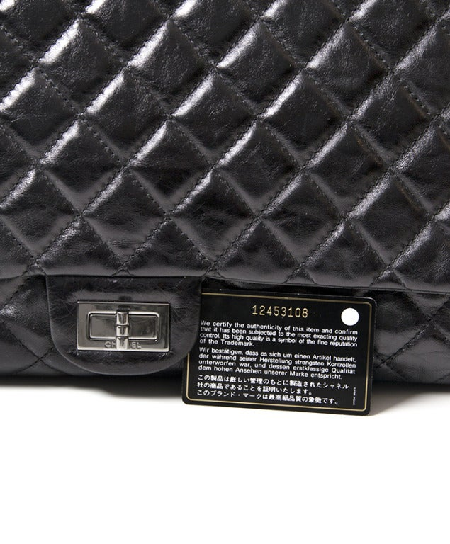 Chanel Black Quilted Patent Leather Shopper Bag 5