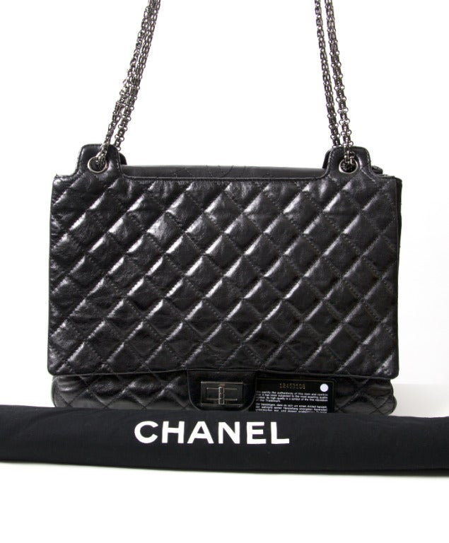 Chanel Black Quilted Patent Leather Shopper Bag 6