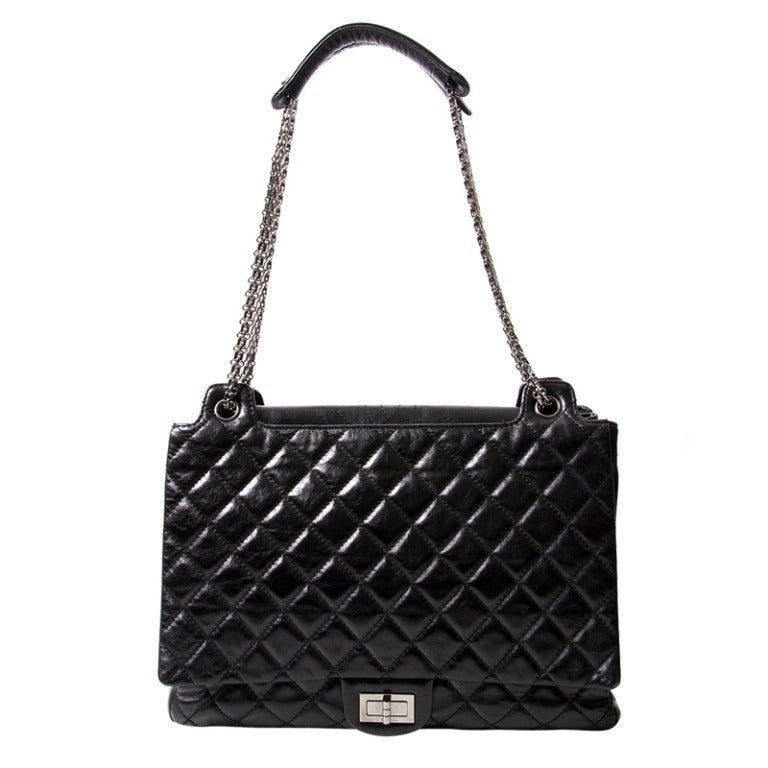 Chanel Black Quilted Patent Leather Shopper Bag 1