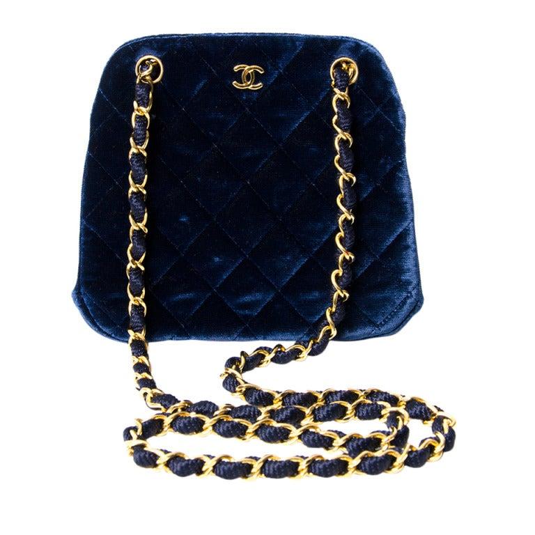 chanel blue velour 80 evening bag at 1stdibs