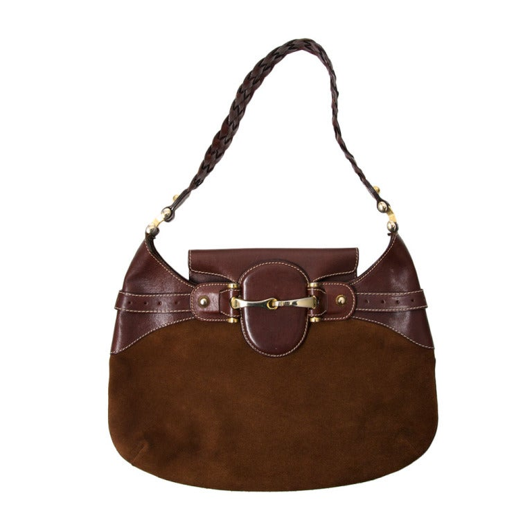 Gucci Chocolate Brown Suede Hobo Bag at 1stdibs