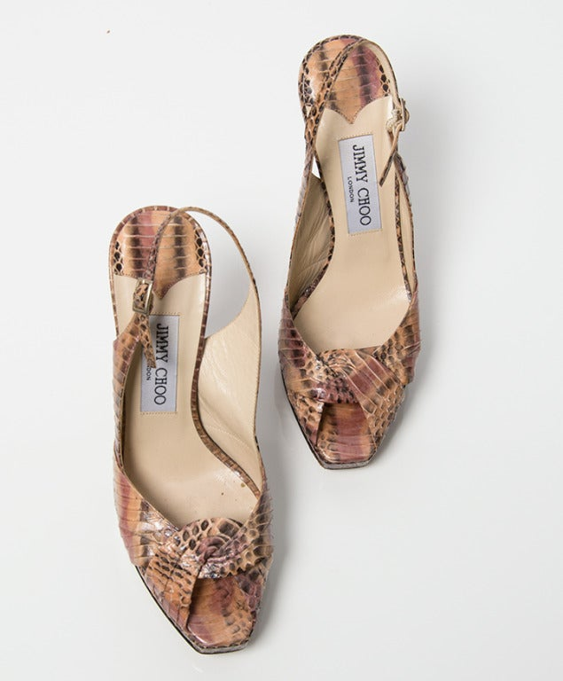 Jimmy Choo Snake Print Peep Toe Pumps 3