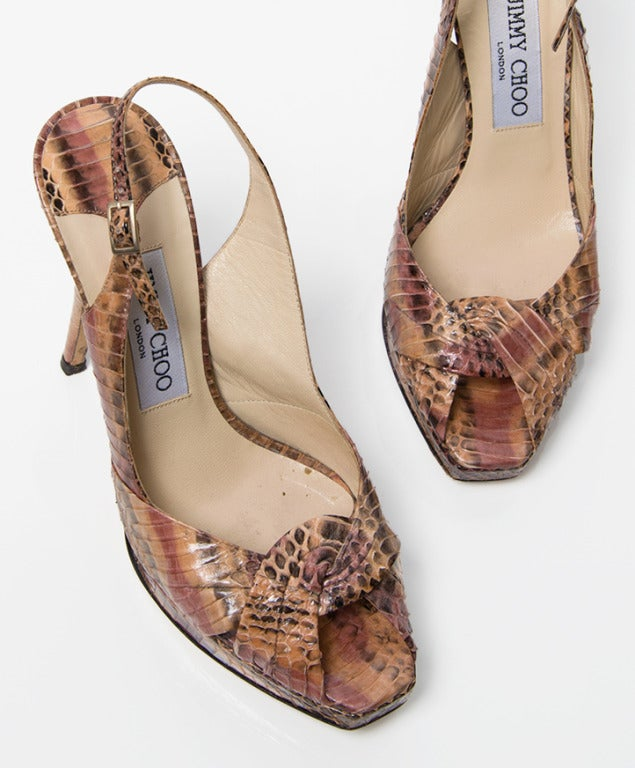 Jimmy Choo Snake Print Peep Toe Pumps 4