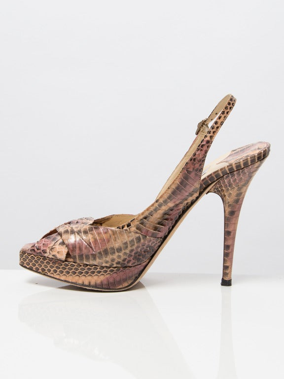 Jimmy Choo Snake Print Peep Toe Pumps 5