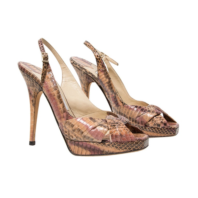 Jimmy Choo Snake Print Peep Toe Pumps 1