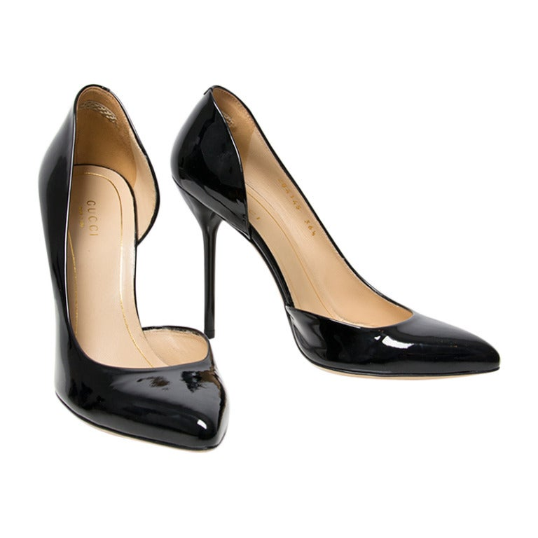 Gucci Gloria Black Patent Leather High Heel Pump at 1stdibs