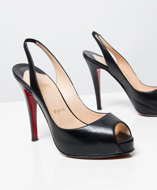 christian louis vuitton men shoes - Christian Louboutin Black Slingback Peep Toe Platform Sandals at ...