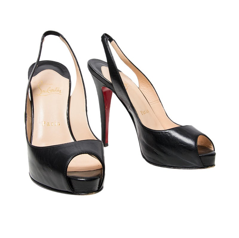 Christian Louboutin Black Slingback Peep Toe Platform Sandals at ...