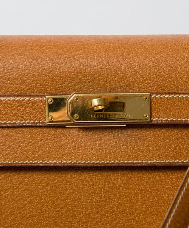 Hermes Kelly Bag 35 cm Gold color Shoulder Strap 2