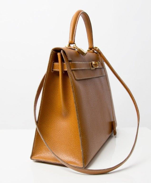 Hermes Kelly Bag 35 cm Gold color Shoulder Strap 5