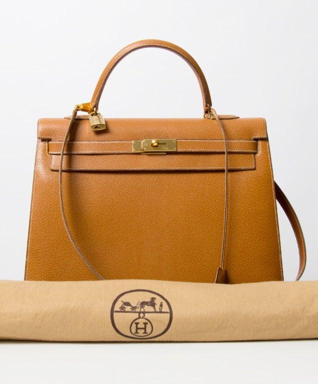Hermes Kelly Bag 35 cm Gold color Shoulder Strap 9