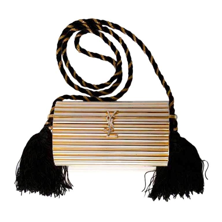 YSL Gold hardware and black tassle clutch/bag at 1stdibs